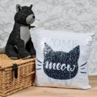 Sequin Cat Print Cushion